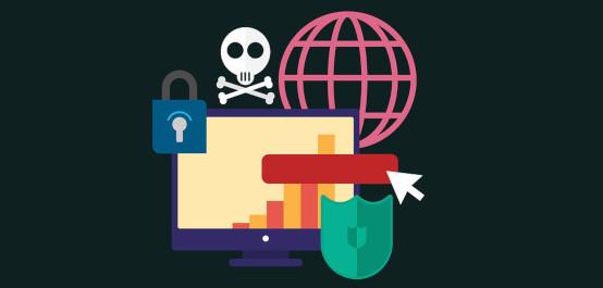 Symbolbild für Datenschutzsprechstunde, das verschiedene Bilder (Schloss, Gitternetz der Erde, Totenkopf, Bildschirm) zeigt.