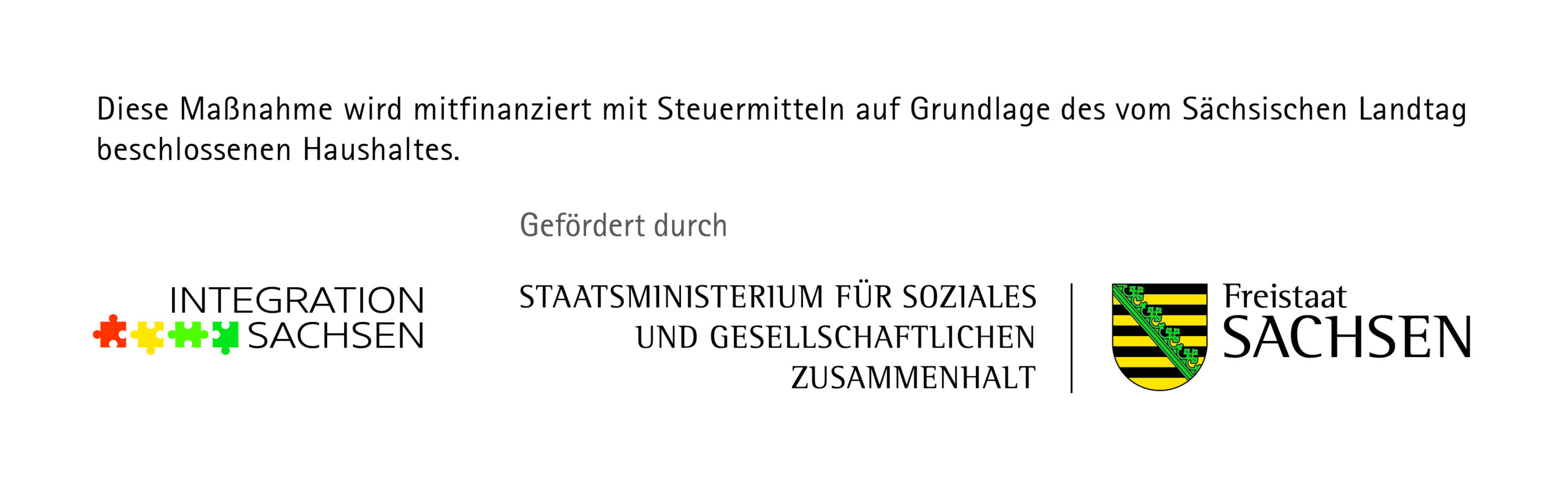 Logo von Integration Sachsen, Staatsministerium für Soziales und gesellschaftlichen Zusammenhalt, Freistaat Sachsen